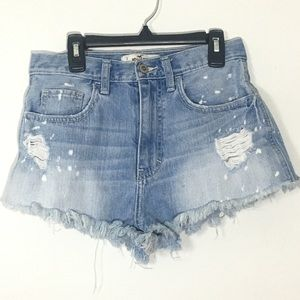 Hollistet Mini Cut Off Frayed Distressed Shorts